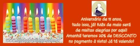 Aniversário de 11 anos, o tempo passou! www.lojababyslings.com.br